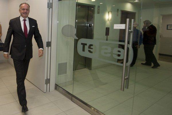 Prezident Andrej Kiska počas návštevy spoločnosti ESET v San Diegu.