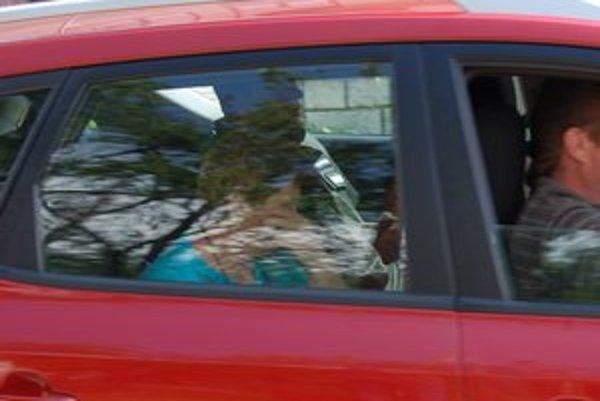 Policajné auto. Po tom, ako sa žena udala, ju odviezli na výsluch.