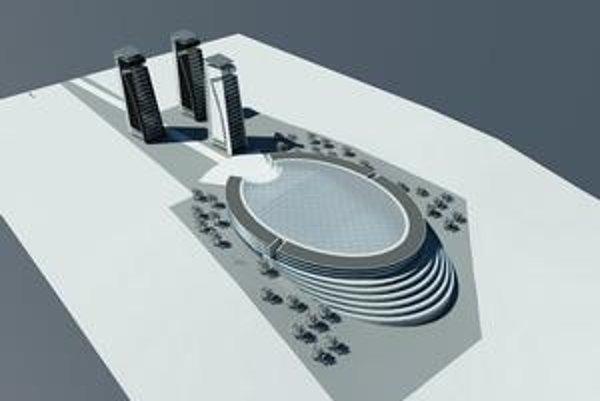 Vizualizácia. Návrh nového amfiteátra s bytovými domami.