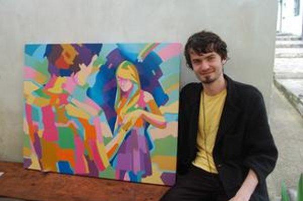 Matúš Stenko so svojím dielom. Obraz zo série Butterfly ego.