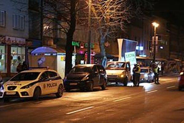 Policajný zásah na prešovskej Masarykovej ulici.