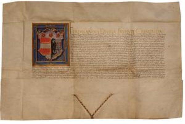 Druhá erbová listina. V máji 1548 udelil mestu na žiadosť richtára nový erb Ferdinand I.
