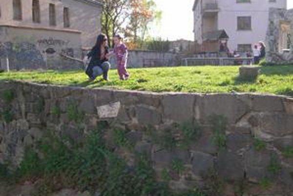 Nebezpečný múr. Marianna Vašková s Ninkou ukazujú na problémové miesto.