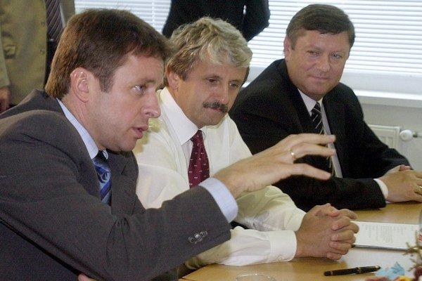 Ivan Mikloš, Mikuláš Dzurinda a Pavol Prokopovič (zľava doprava).