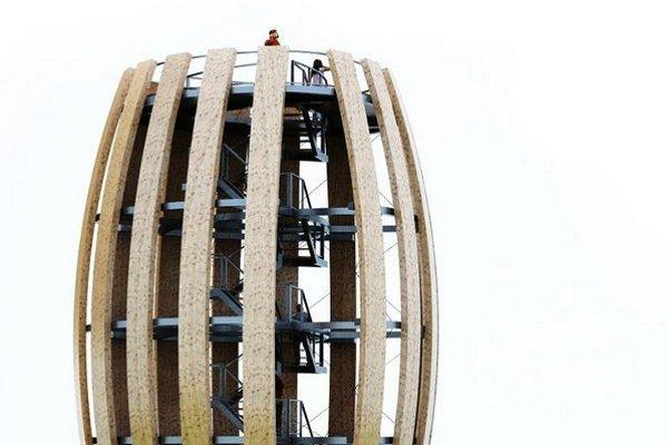 """Vyhliadka zo """"suda"""". Novou dominantou Vinohradníckej oblasti Tokaj sa čoskoro stane 12-metrová vyhliadková veža situovaná uprostred viníc medzi Malou Tŕňou a Černochovom. Poskytne výhľad na región Tokaja, na vinice a širšie okolie. Originálny bude aj jej"""