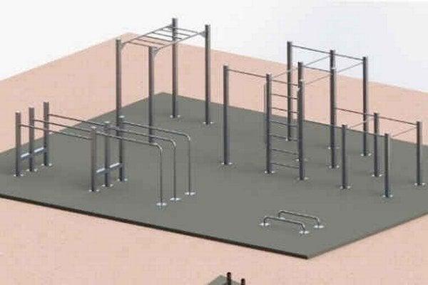 Vizualizácia street workoutového ihriska. Pri tomto druhu cvičenia sa využívajú cviky s váhou vlastného tela.