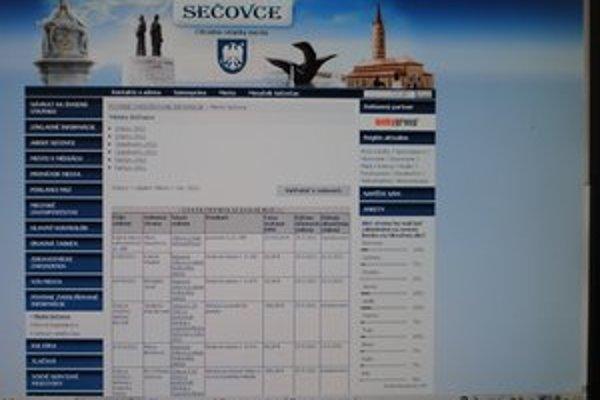 Webova stránka Sečoviec. Spomedzi zemplínskych samospráv ju Transparency International Slovensko označila ako najlepšiu.