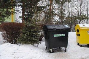 Vianočné stromčeky. Po sviatkoch skončili pri kontajneroch.