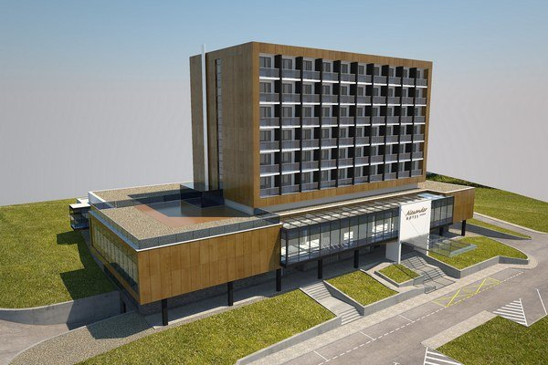 Vizualizácia nového hotela.