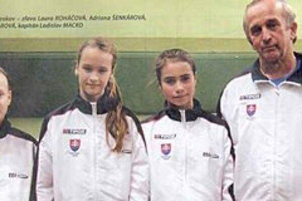 Slovenky Winter cupu. Zľava: Laura Roháčová, Adriana Šenkárová, Alexandra Pillarová a kapitán Ladislav Macko.