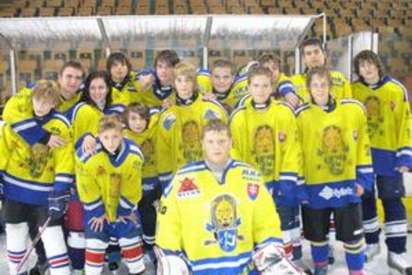 Starší žiaci. Družstvo 9. - 8. ročníka športových hokejových tried.