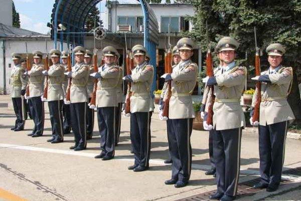 Čestná stráž prezidenta SR. Pri státí sa vojaci nesmú rozprávať, hýbať sa a musia si zachovať vážnu tvár.