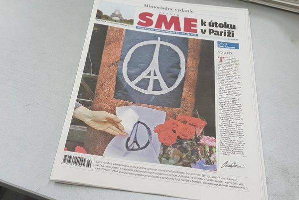Titulná strana mimoriadneho vydania denníka SME k útoku v Paríži.