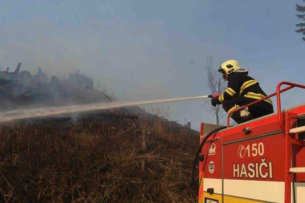Na snímke hasič hasí prúdnicou horiace rúbanisko v lese v Levočských vrchoch nad obcou Kolačkov.