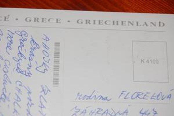 Pozdrav z Grécka. Pohľadnica došla skutočne bez známky a pečiatky.