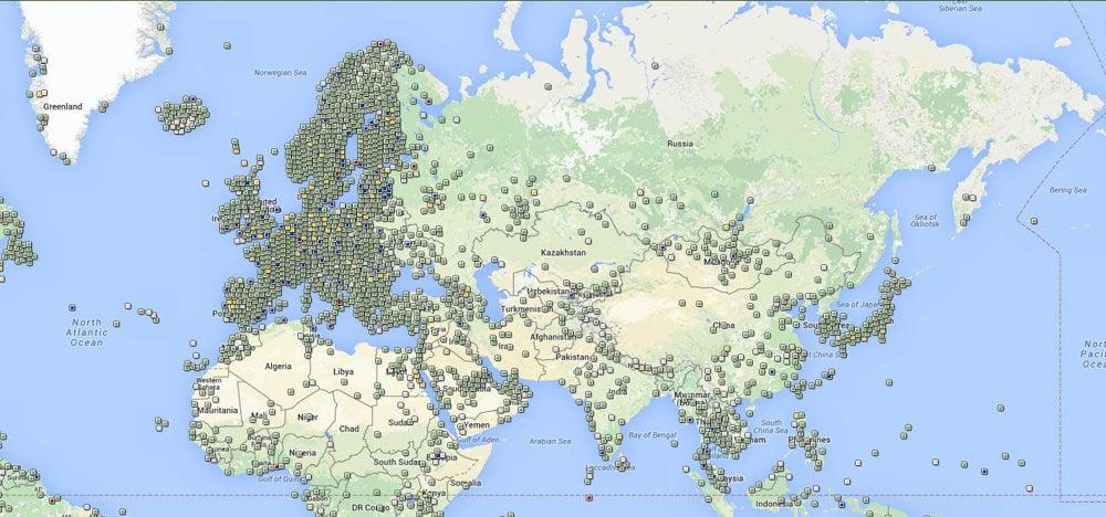 V niektorých krajinách nie je geocaching až taký rozšírený. Na mape vidieť hustotu skrýš vo svete.