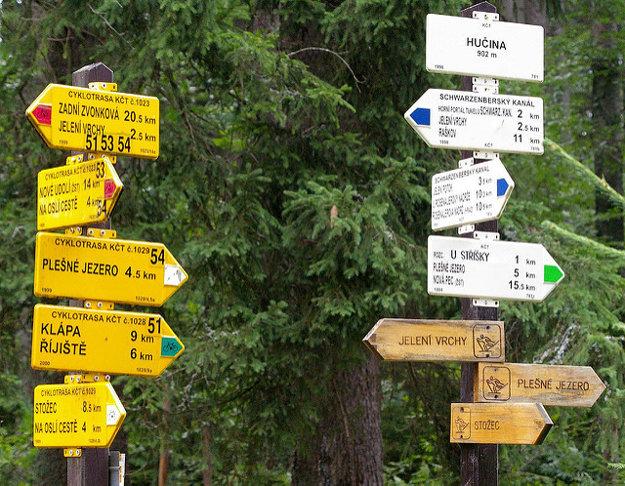 Značky občas spôsobujú zmätok. Vlastné značenie majú cyklisti, turisti aj bežkári