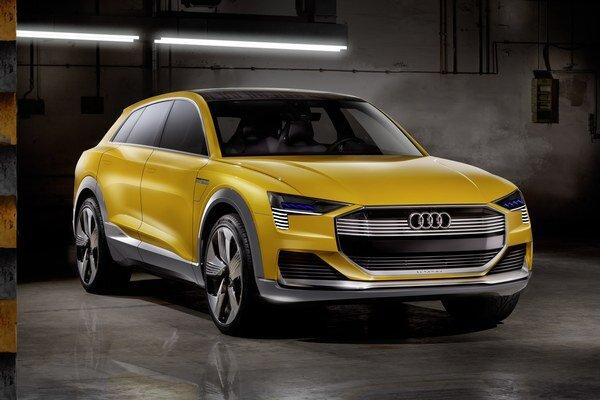 """Koncepčné Audi h-tron quattro concept. Ako vyplýva z písmena """"h"""" v označení vozidla, zdrojom energie pre elektromotory je palivový článok na báze vodíka."""