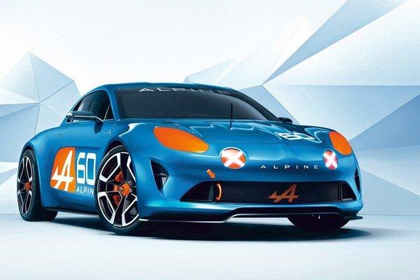 Štúdia Alpine Celebration. Štúdia svojimi tvarmi i dizajnérskymi prvkami pripomína legendárny športový automobil Alpine A110.