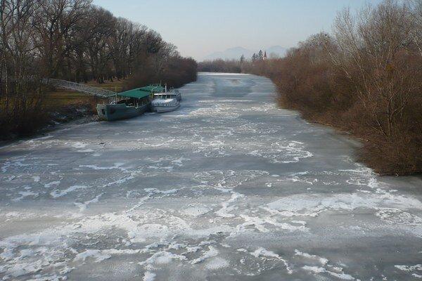 Zamrznutý Bodrog. V polovici januára pri Strede nad Bodrogom.