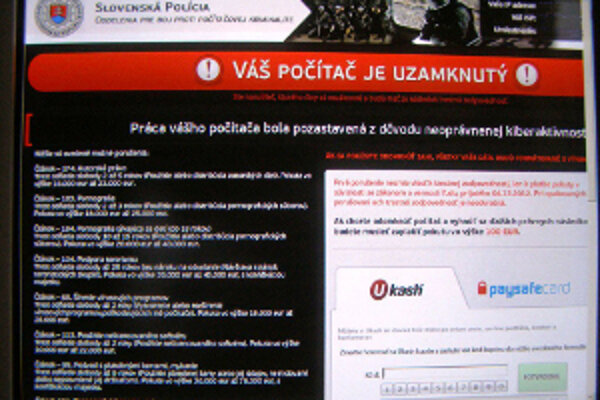 Vírus oznamuje, že počítač je zablokovaný.