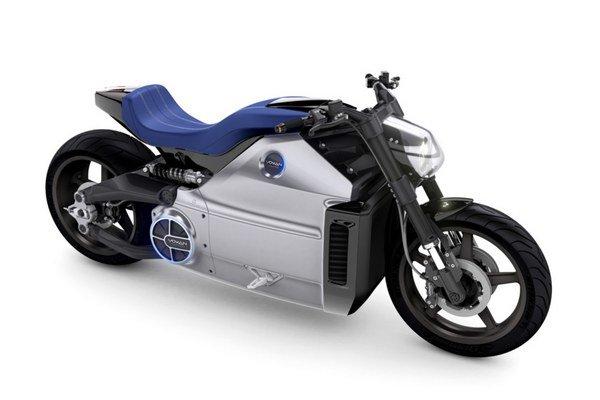 Elektrický motocykel Voxan Wattman. Wattman je poháňaný elektromotorom výkonu 147 kW a je tak najvýkonnejším elektromotocyklom na svete.
