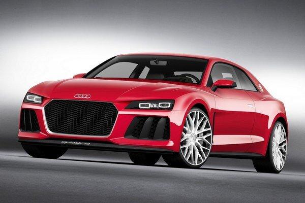 Štúdia Audi Sport quattro laserlight. Podtext: Vnútorná časť reflektorov (diaľkové svetlá) je tvorená výkonnými laserovými diódami, ktoré osvetlia cestu až do vzdialenosti 500 metrov.