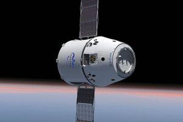 Kresba lode Dragon. Loď Dragon bude schopná do vesmíru vyniesť siedmich astronautov alebo 6 ton nákladu.