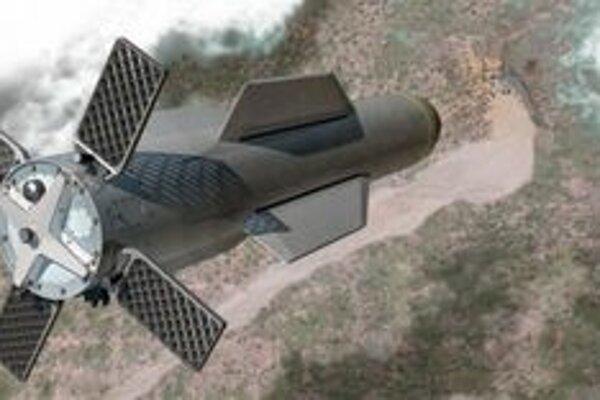 Kresba novej americkej bomby. Bomba je vraj schopná preniknúť do vnútra bukra, ktorého betónový strop má hrúbku 60 metrov.
