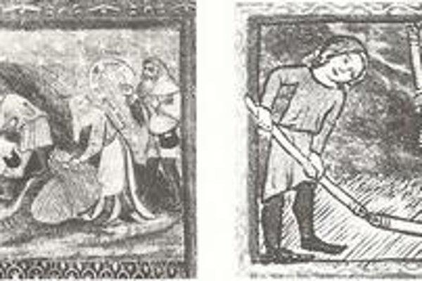 Žatva v 14. storočí. Obilie pokosili srpmi a potom ho vymlátili mlackovia, ktorým Košičania platili na deň po deväť a pol groša.