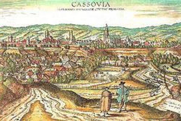 Kolorovaná medirytina Košíc, známa ako Houffnagelova veduta z roku 1617.
