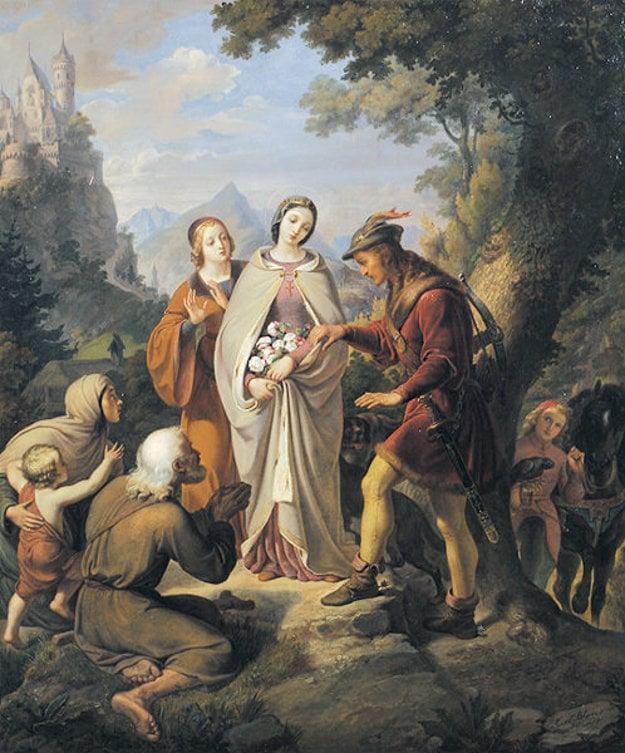 Svätá Alžbeta. Kúsky chleba v jej zástere premenil Boh na ruže.
