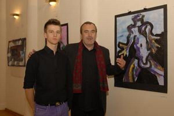S Rudolfom Gerim. Dirigent, hudobný skladateľ a umelecký šéf divadla je očarený Marošovou výtvarnou tvorbou.