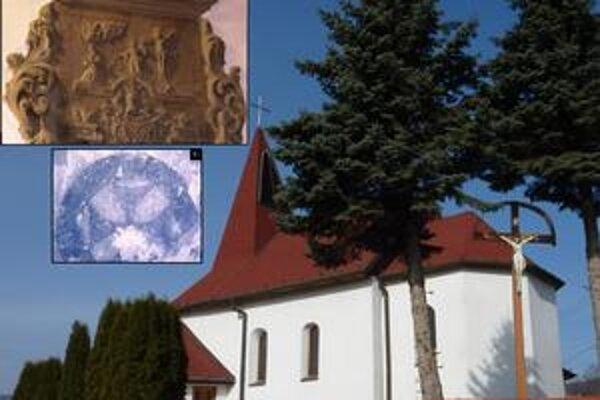 Kostol v Uzovskom Šalgove. 1. detail epitafu, 2. objavený konsekračný kríž, 3. areál kostola od JV.