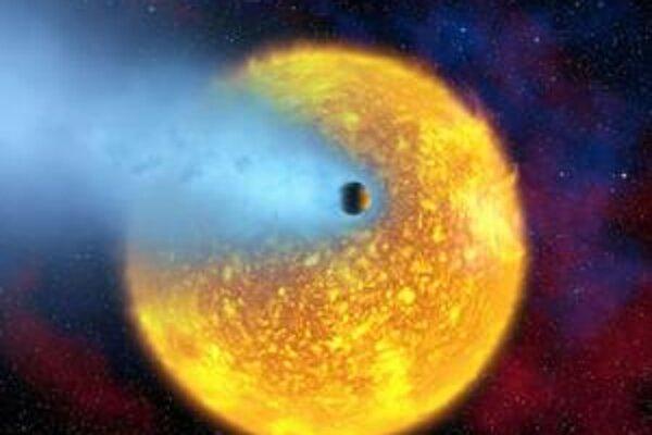 """Kresba """"kometárnej"""" planéty. Rozpálená planéta za sebou ťahá akýsi chvost zo svojej atmosféry."""