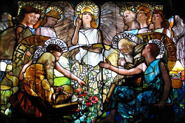 Na Tiffanyho vitráži Vzdelanie sú viera a náboženstvo v harmónii.