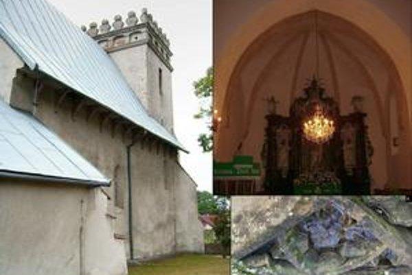 Kostol v Chmeľove. 1.kostol od SV, 2. presbytérium, 3. zvyšok gotickej kružby okna.