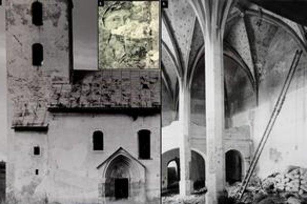 Ruskinovský kostol. 1. Južná fasáda s bohato zdobeným portálom, 2. gotické fresky pod novšou omietkou, 3. klenba dvojlodia.