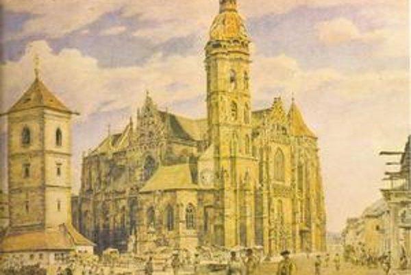 """Námestie v Košiciach. Akvarel maliara Jakuba Alta: """"Pred košickým dómom"""" z roku 1839."""