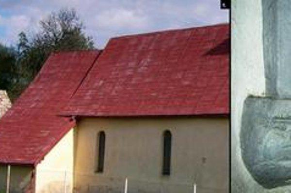 Kostol v Hendrichovciach. 1. najstaršia časť kostola (pohľad od severu). 2. SZ ranogotická konzola s maskou.