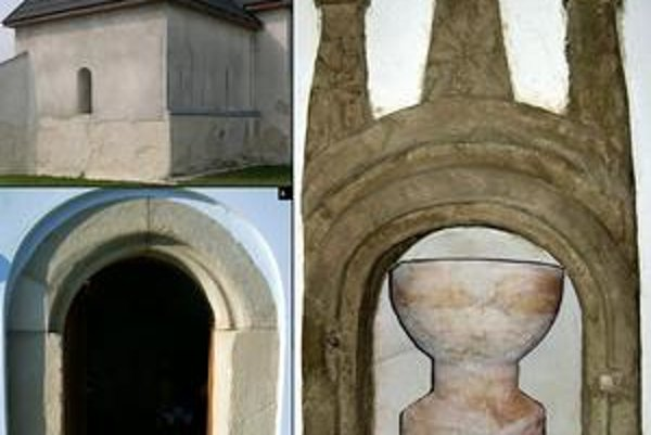 Kostol v Čeľovciach. 1. kostol od východu, 2. južný portál, 3. pastofórium a krstiteľnica.