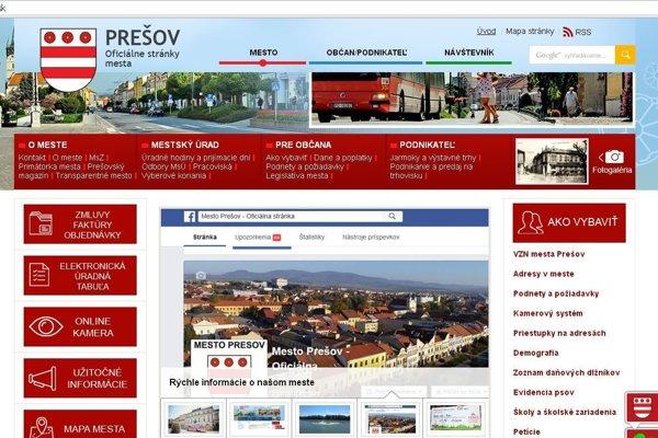 Webová stránka mesta Prešov.