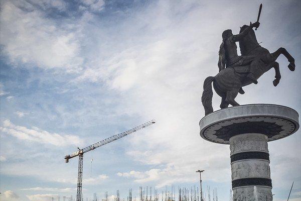 Socha Alexandra Macedónskeho v Skopje.