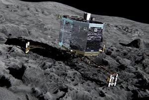 Vizualizácia landeru Philae na kométe 67P.