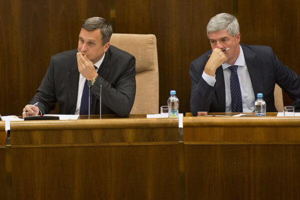 Predseda parlamentu Andrej Danko (vľavo) a podpredseda NR SR Béla Bugár.