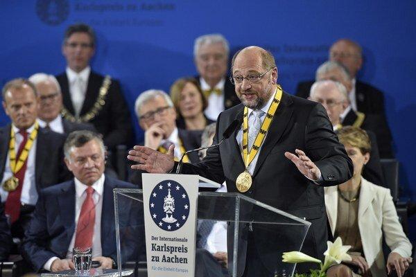 Martin Schulz počas svojej ďakovnej reči.
