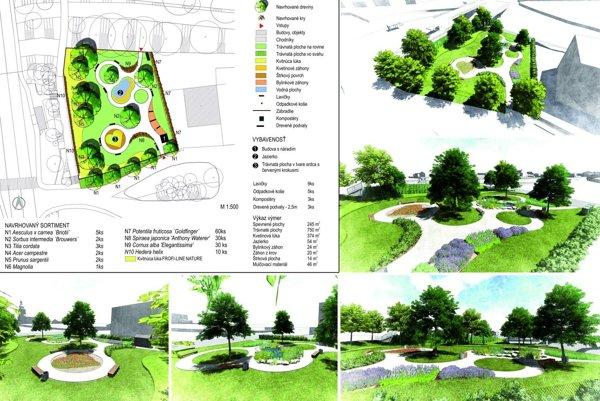 Vizualizácia parku v Hruštíne.