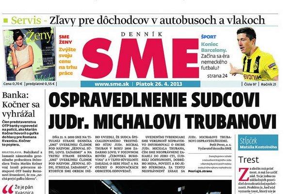 Reprodukcia titulnej strany SME z 26. 4. 2013.
