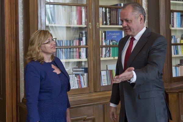 Predsedníčka Súdnej rady Jana Bajánková u prezidenta Andreja Kisku. Obaja rozhodujú aj o nových sudcov.