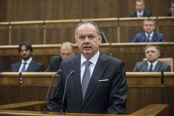 Prezident Andrej Kiska v parlamente.